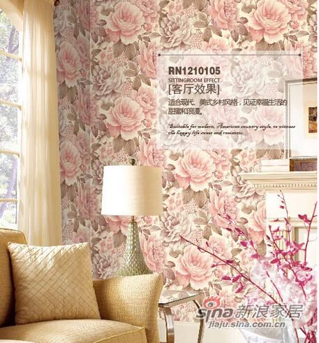 柔然壁纸 美式田园立体花型图片