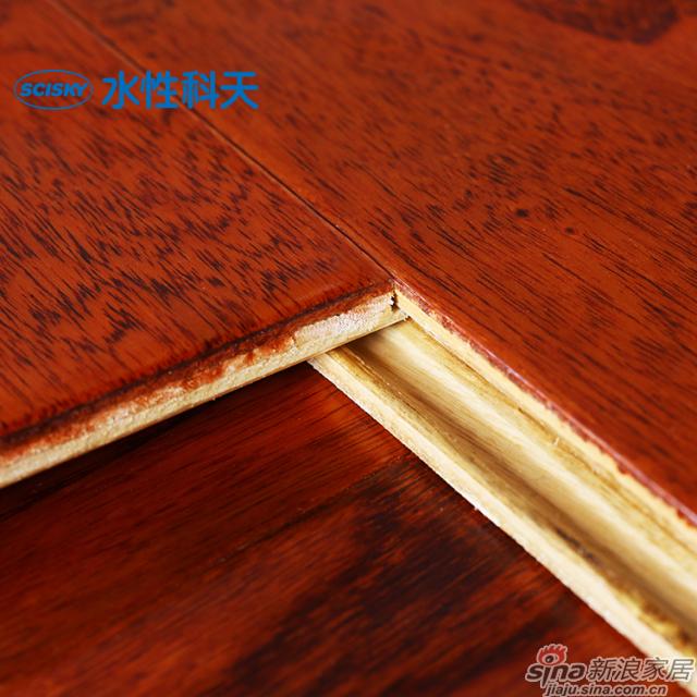 珊瑚红榆木实木复合地板-4