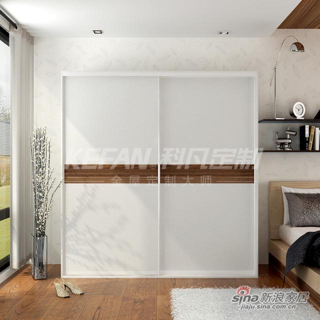 科凡简约现代家居推拉门衣橱 烤漆移门整体板式卧室简易衣柜 白木+胡桃芯CY027