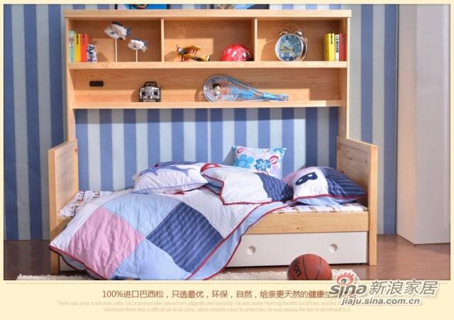 喜梦宝 实木家具韩式实木床1米单人床松木床儿童床储物床书架抽屉-3