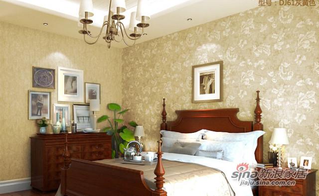 爱舍美式田园复古怀旧莨苕叶绿色卧室背景壁纸