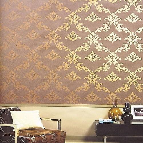 旺涯立体反光砂岩颗粒墙纸 经典花纹ab0837新中式客厅图片