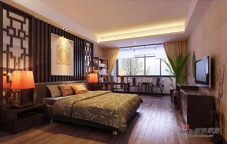 卧室与书房融入到一个相对较大的空间里