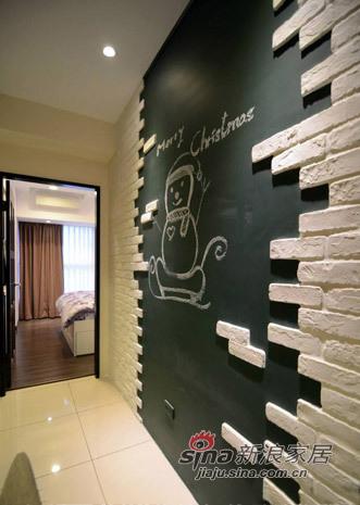 黑板墙贴白色砖  好漂亮啊~