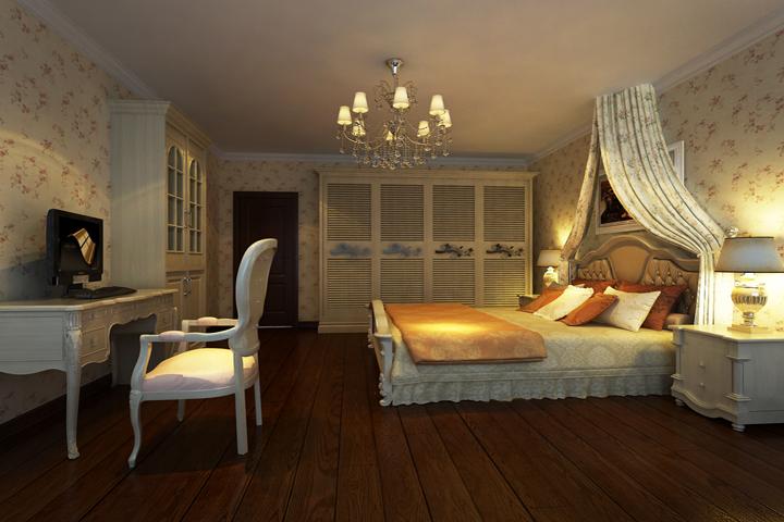 主要以暖白色为主,白色的家具配以深色的实