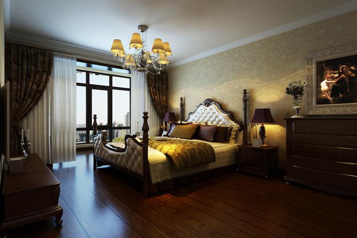 主卧空间主要以暖色为主,配以深色的实木家