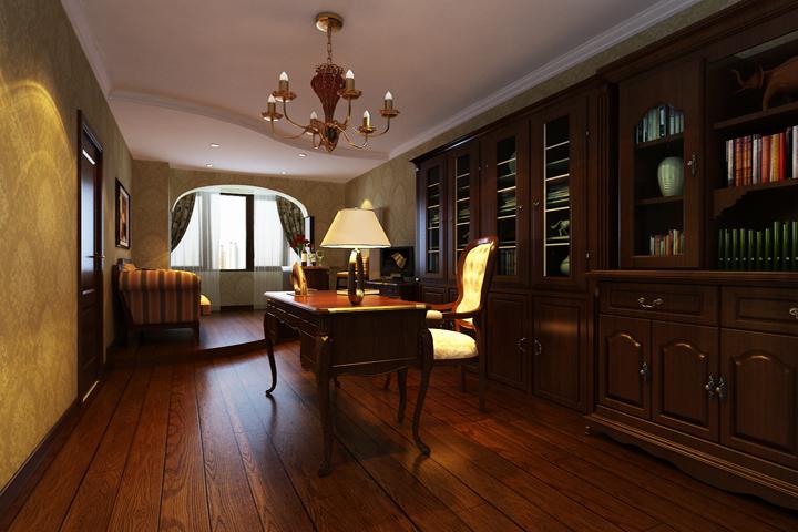 书房空间跟也是暖色调为主,配以深色的实木