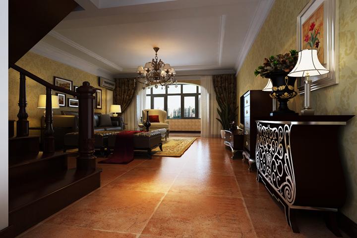 客厅空间的色调主要以暖色为主,配以深色实