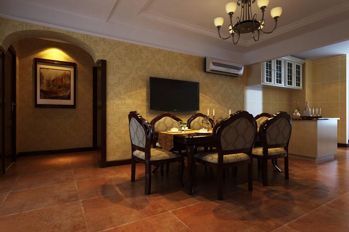 餐厅与客厅是贯通的,颜色也以暖色为主,延