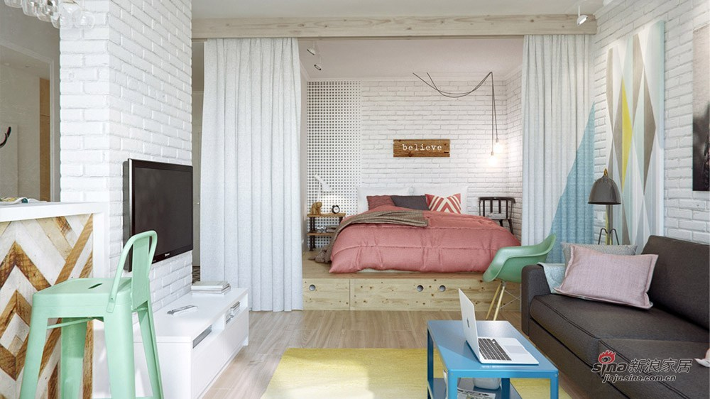 客厅看卧室