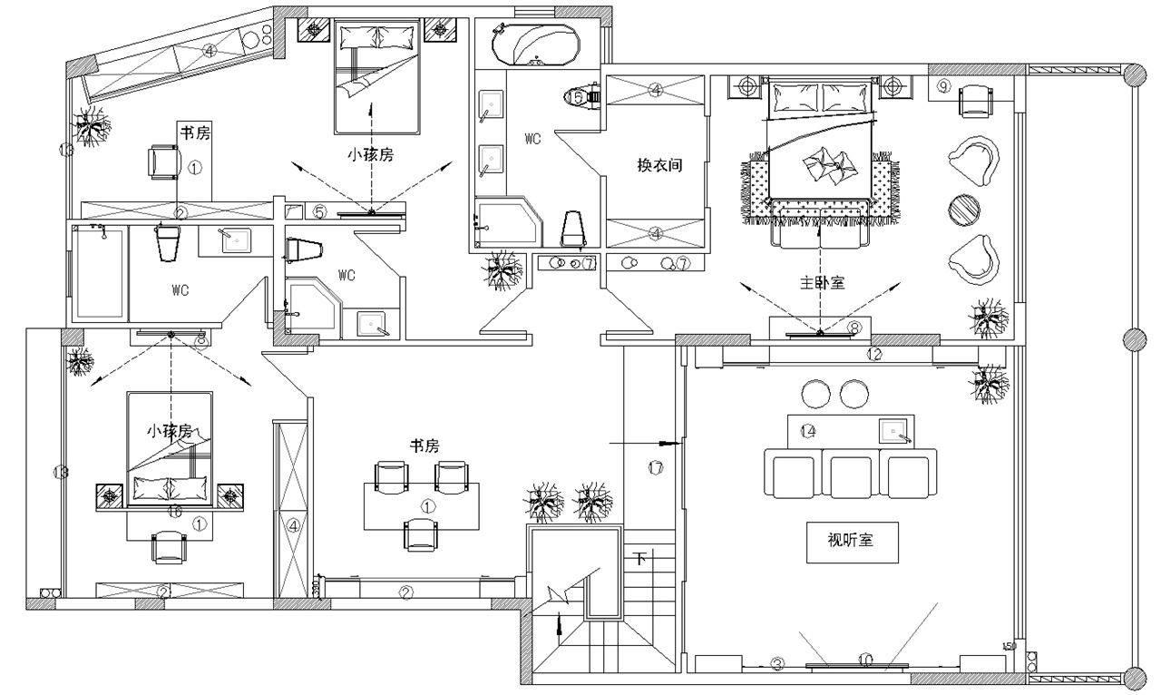 新中式300平典雅复式楼图片