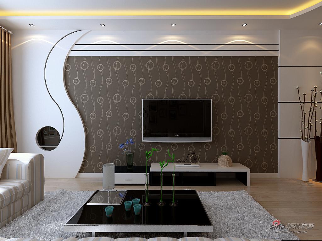 客厅电视墙客厅电视背景  最新款简单大气影视墙-2017电视墙大气效果图片