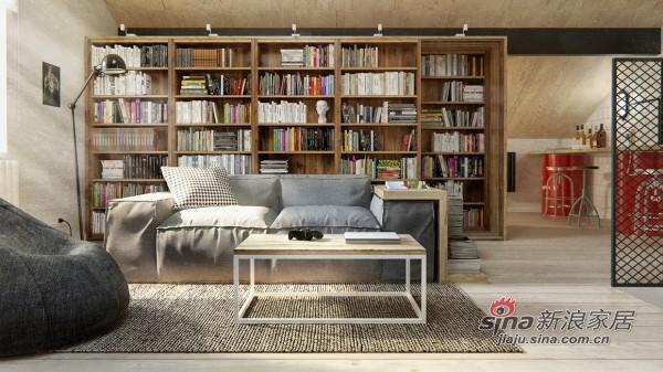 冷灰和温木相融合的客厅
