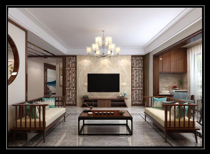 济南业之峰装饰拉菲公馆294平新中式风格效果图