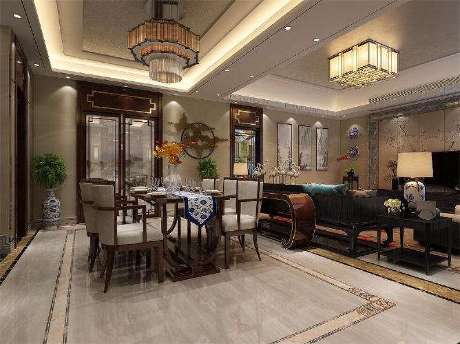 【济南业之峰】华润仰山360平别墅新中式风格装修效果图