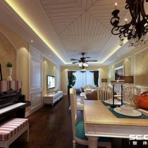 哈尔滨实创装饰打造群力观江国际140平大气简欧三居室