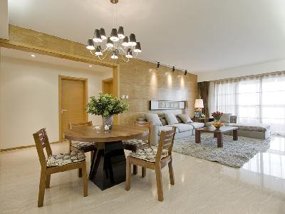 设计理念:选择了圆形的餐桌,这样更有利于平时一家人用餐。