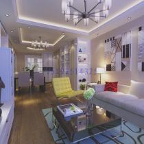 海尔学府87平D户型,三居室现代简约装修设计