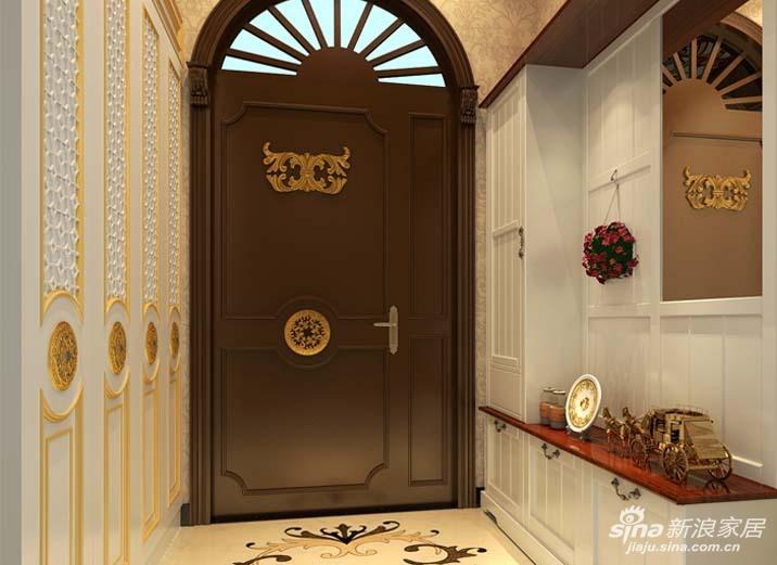 同时白色烤漆壁板与深色拱形入户门也充分展现出欧式古典的优雅质感图片
