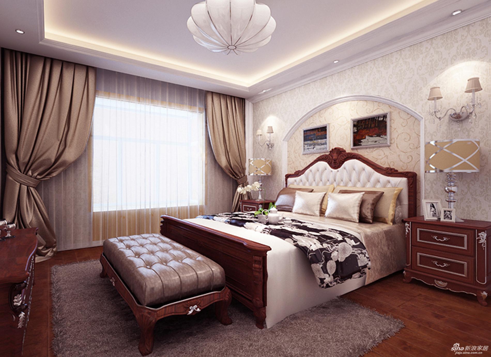 【卧式的床头背景墙为了呼应美式的主题.用白色石膏板图片
