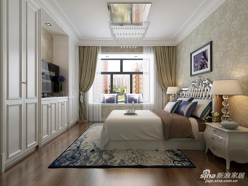 卧室装修效果图 卧室设计以舒适温馨为主,顶面造型以简洁的石膏线条