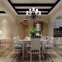木板拼接的刷白与深色原木天花,带出美式风格的休闲轻松感,蓝白条纹的餐椅,加入了休闲的海边元素,营造轻松休闲就餐氛围。