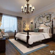床头背景的墙纸与整个墙面与顶面出现的层次跳跃,一幅画体现业主的心中的一份安逸,突出卧室温馨的一面。