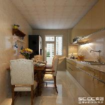 厨房装修效果图 香槟烤漆的橱柜,配以一把木色的桌椅,波西米亚黄的墙砖,整体的颜色搭配更加和谐。色彩的统一,合理的布局。