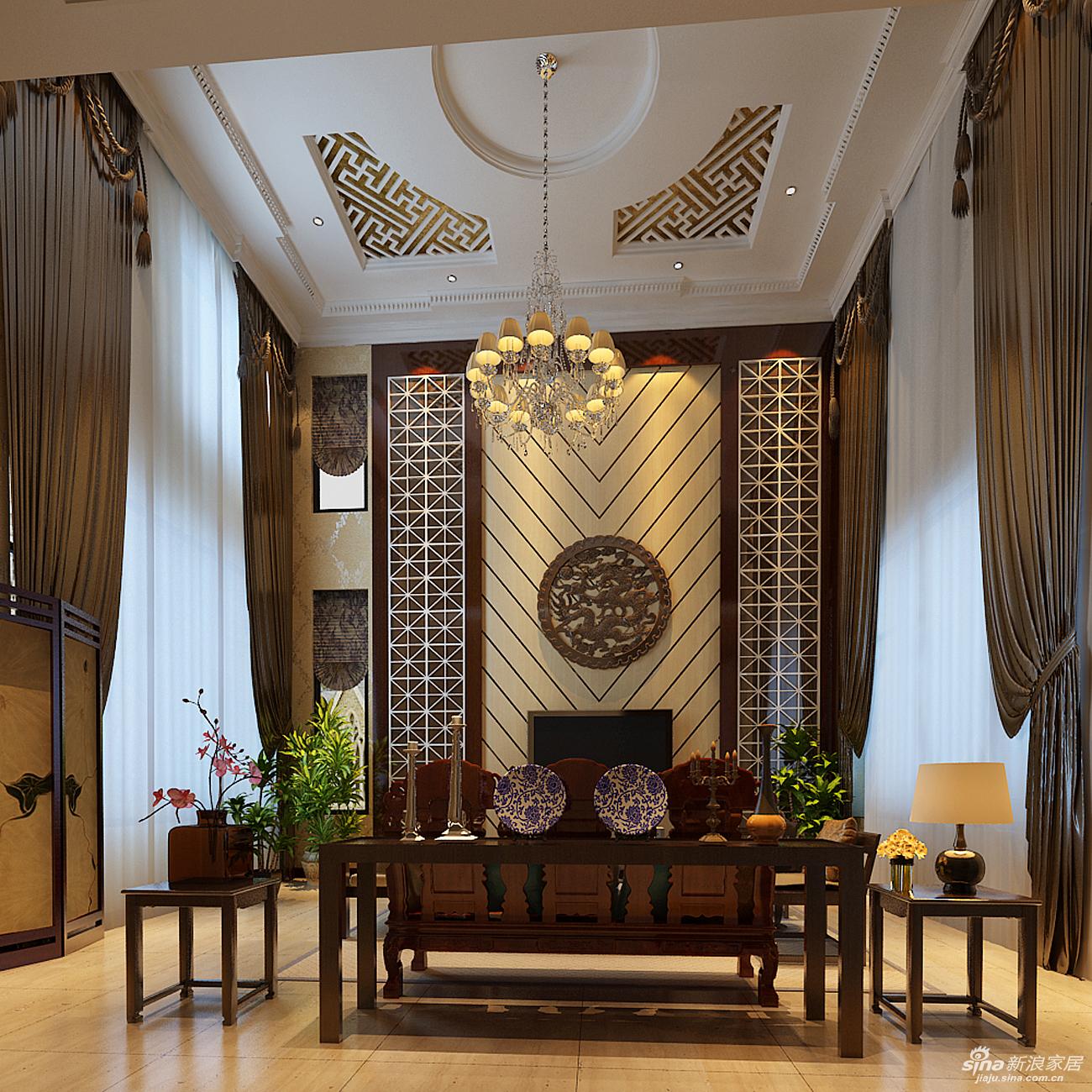 客厅挑高的建筑结构,电视墙用木制中式纹样花格来体现,两边的超高的图片