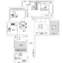 98平三居室中式风格装修设计