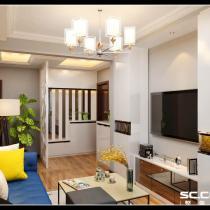 绿化小区80平现代风格 客厅装修设计案例效果图