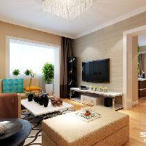 本套案例家具布置尽然有序,又使用灯光和暖色调的墙漆烘托出一种温馨  的氛围。在客厅也可以看到阳台的绿植,不论是寒冷的严冬,还是炎炎夏日,都  给人一种暖暖的新意。