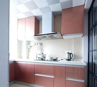 粉色的橱柜延续了整个空间的整体感觉。
