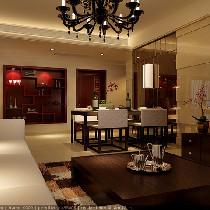 万达简中式风格三居室装修——鼎盛创典装饰