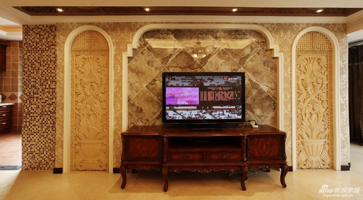 中间用斜拼而成的砖来占据电视墙的主体,整体明快,有强烈的欧式审美