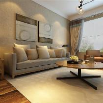 首先先看客厅的配饰,整体背景墙面很简洁,但又不失典雅的色彩,采用造型壁布为主,看着效果图的感觉是条纹壁布,显得空间高了些许,壁布的质感摸起来很柔和,温馨感凸显。