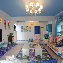 【北城一号】5.5万打造的绚丽地中海风格家装