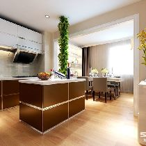 夫妻双方因为平时应酬比较多,所以不常在家做饭,这样做成开放式厨房  非常适合,开放式厨房,空间感强,再加上有倒餐台,在使用性能上有很大的提  升。