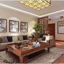 祥鹰花园160平三居室中式精装修 青岛实创装饰