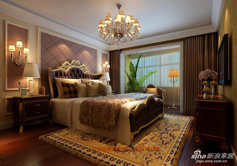 设计师在卧室背景墙颜色与壁灯,窗帘,床头柜,电视柜等相呼应,给人你图片