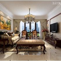 实创装饰打造雅致舒适家居,常青藤107平美式装修设计