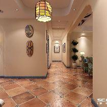 曲线与房门的造型做成对称的,白色的砖墙体现出生活自在。包覆的设计给人一种安全感。