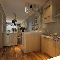 厨房主要以防亚麻布壁砖为主,没有往日俗气的亮光感觉,档次更不用说,在厨房出来的一角,设计了一处吧台,颜色和整体风格符合,门板采用了平面方框的门形,现代感更加强烈,吧台上方有哑光钢架的造型,用来挂酒杯,给现代混搭风格调剂了不少色彩。