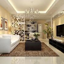 米色温馨调 5.3万装修梅兰居78平简约两居室效果图