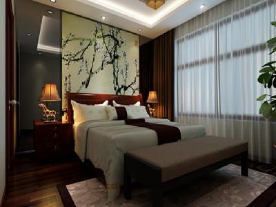 卧室 简单而不失浪漫 设计理念:床品和窗帘延续了中式风格的主旋律图片