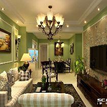 94平新湖明珠城两居美式风格装修案例解析