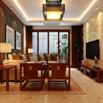 天津实创装饰-融侨观邸137平米新中式风格装修效果图