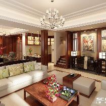富成别墅400平新中式风格老房装修设计