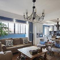 演绎蓝色的哆啦A梦主义158平美式精品时尚复式公寓