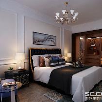 卧室装修效果图 卧室是日常休息的地方,在放松的同时,卧室也是关键的储藏空间。整体的色调以温馨为主,在床头背景墙也用石膏线做了简单的造型,丰富了整体的空间,与客厅的造型做了简单的呼应。